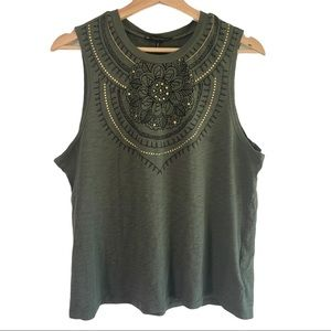 House of Harlow 1960 Army Green T Shirt Tank Top